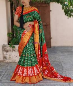 Dark green with orange pure handloom ikkat silk sarees