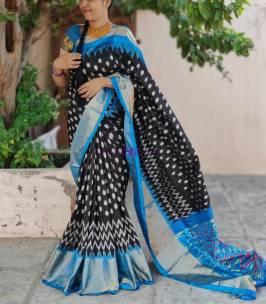 Black with sky blue handloom ikkat silk sarees