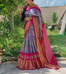 Lilac and pink pure handloom ikkat silk sarees