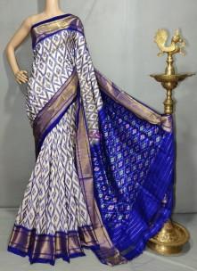 White with Royal blue handloom ikkat silk sarees