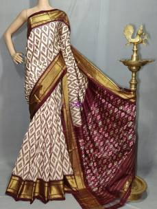 Cream with maroon red pure handloom ikkat silk sarees