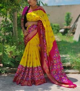Yellow with dark pink pure handloom ikkat silk sarees