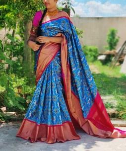 Light blue and pink pure handloom ikkat silk sarees