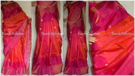 Dark pink and magenta uppada sarees with butti