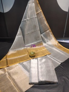 Silver with gold uppada tissue sarees
