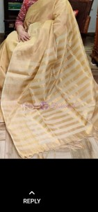 Light gold uppada tissue by tissue sarees