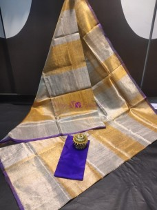 Gold and silver checks uppada tissue sarees