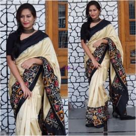 Cream with black pure handloom ikkat sarees