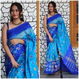 Light blue and dark blue pure handloom ikkat sarees