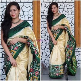 Cream and dark green pure ikkat sarees