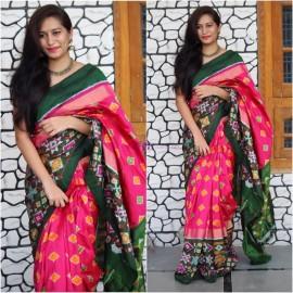 Dark pink and black pure handloom ikkat sarees