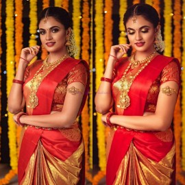 Gold and orange pure kanchipuram silk sarees