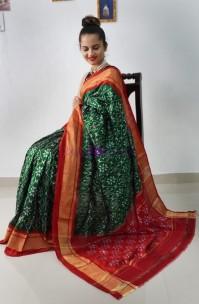Bottle green handloom ikat silk sarees