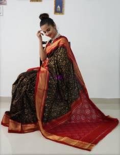 Black ikat silk sarees