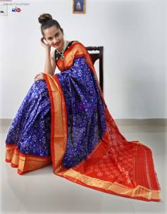 Dark blue handloom pochampally ikat silk sarees