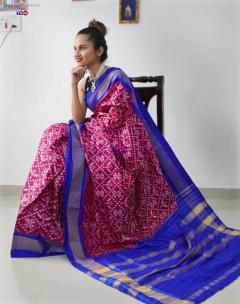 Magenta handloom ikat silk sarees
