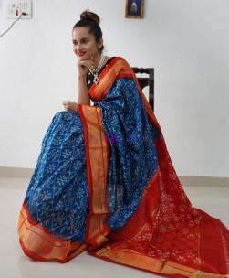 Blue handloom ikat silk sarees