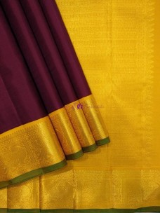 Maroon red and yellow pure silk sarees
