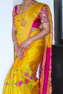Yellow and dark pink uppada silk printed sarees