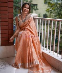 Orange 120 counts linen embroidered sarees