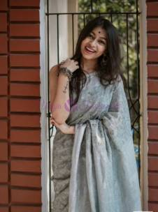 Grey 120 counts linen embroidered sarees