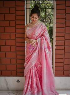 Pink 120 counts linen embroidered sarees
