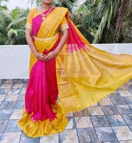 Dark pink handloom kuppadam sarees