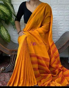 Mango yellow Narayanpet plain cotton sarees