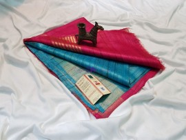 Light blue and pink pure tussar ghicha sarees