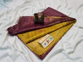Mustard pure tussar ghicha sarees