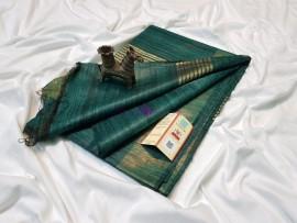 Dark green pure tussar ghicha sarees