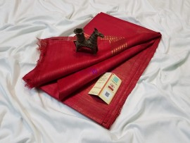 Dark red pure tussar ghicha sarees