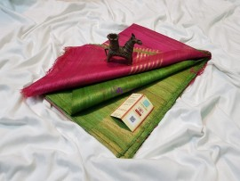 Green and pink pure tussar ghicha sarees