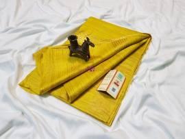 Dark yellow pure tussar ghicha sarees
