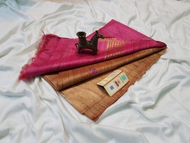 Light orange and pink pure tussar ghicha sarees