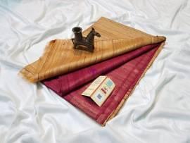 Reddish pink pure tussar ghicha sarees