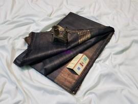 Black pure tussar ghicha sarees
