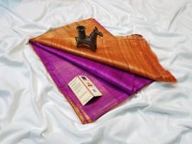 Magenta and orange pure tussar ghicha sarees