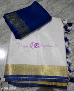 White and Navy blue 120 counts linen sarees
