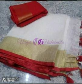 White and red 120 counts linen sarees