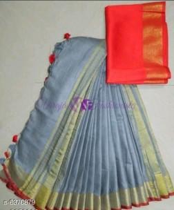 Grey and orange 120 counts linen sarees