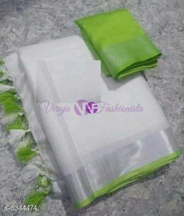 White and Apple green 120 counts linen sarees