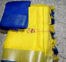 Yellow and dark blue 120 counts linen sarees