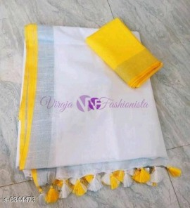White and mango yellow 120 counts linen sarees