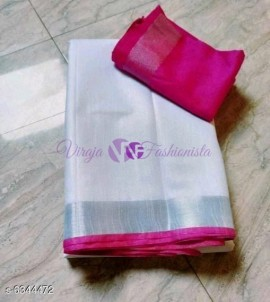 White and dark pink 120 counts linen sarees