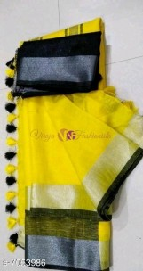 Yellow and black 120 counts linen sarees