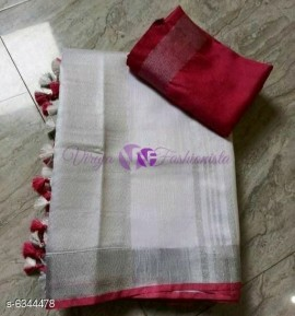 White and maroon red 120 counts linen sarees