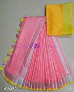 Baby pink and yellow 120 counts linen sarees