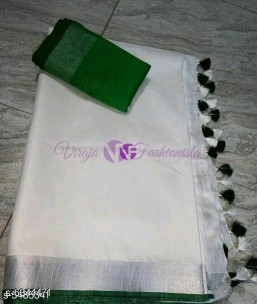 White and dark green 120 counts linen sarees