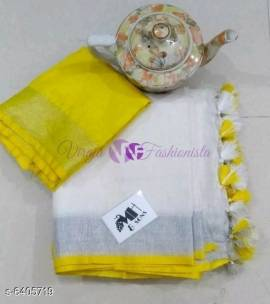 White and yellow 120 counts linen sarees